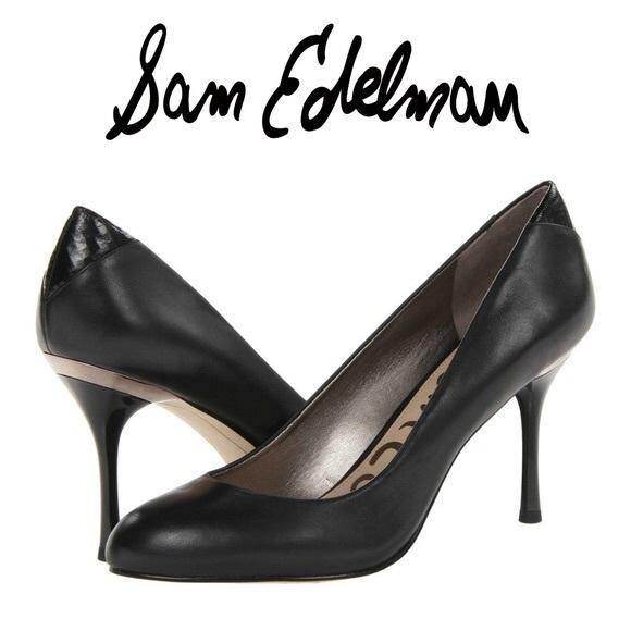 d950e3c8d114 Sam Edelman Camdyn Black Leather Heels Size 6. M 5b85ea081b16db4a7fd1bb59